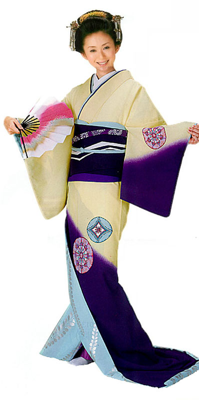 "Trailing Kimono Hikizuri ""Wheels and ball"""
