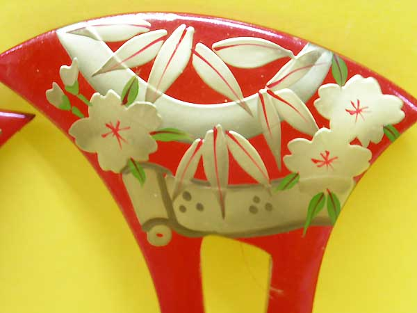 Kanzashi , Hair Stick, Hair fork, Fan Shaped, Red. Shu, Sakura,