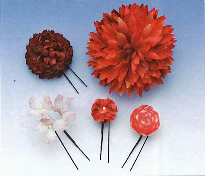 Flower Pins Kanzashi Set , Red