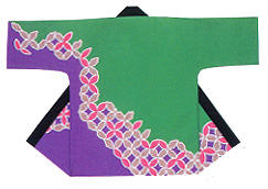 Reasonable Hanten Tenjiku Cotton Fabric Green and Purple