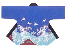 Reasonable Hanten Tenjiku Cotton Fabric Seagull and Wave