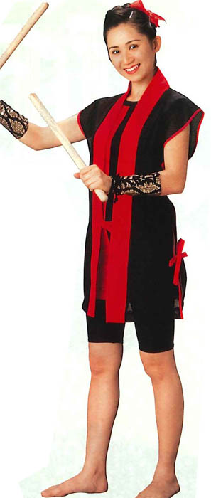 Sleeveless Hanten, Taiko , Black and Red, Mesh fabric
