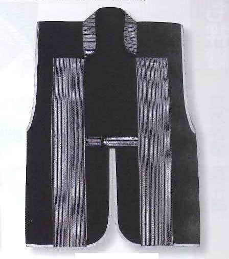 Jinbaori, Surcoat, Samurai Vest , Black and silver grey (85cm)