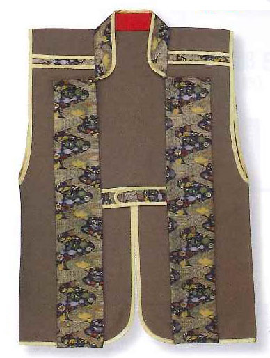 Jinbaori, Surcoat, Samurai Vest Brown (85cm long) - Click Image to Close