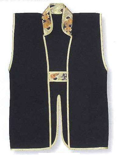 Black plain Jinbaori, Surcoat, Samurai Vest (90cm long)
