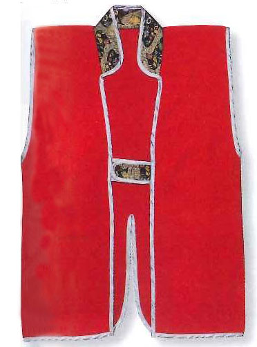 Red plain Jinbaori, Surcoat, Samurai Vest (90cm long)