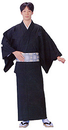 "READY MADE Kimono Black ""Habutae"" (double threading)"
