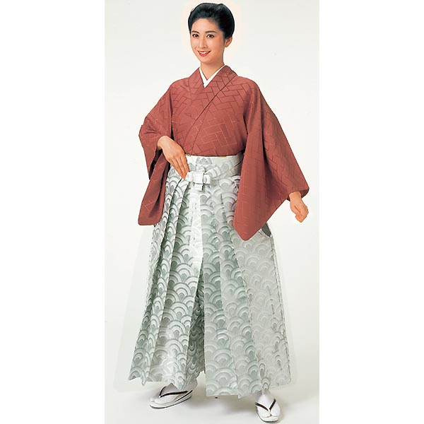 Gold‐brocaded Hakama, Seigaiha silver white