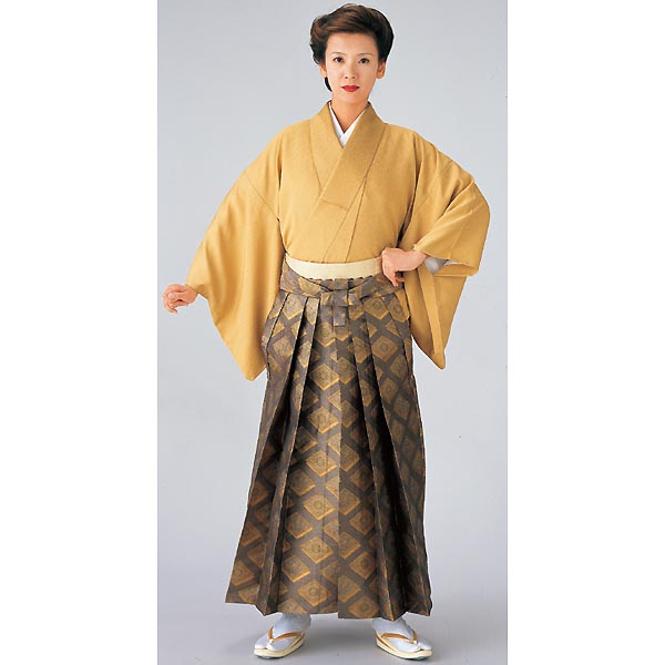 Gold‐brocaded Hakama, Dull gold on metallic grey
