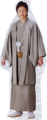 Silk Kimono & Haori Set (Ready Made) Silver grey, size M , Last