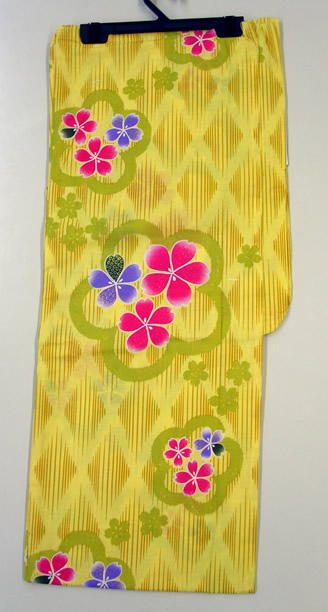 Less Expensive Yukata Robe Cotton Sakura-like Yellow, diacheck