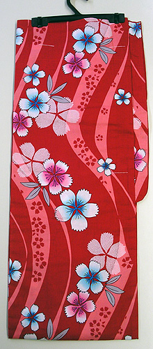 Less Expensive Yukata Robe Cotton Sakura-like Flower, Red