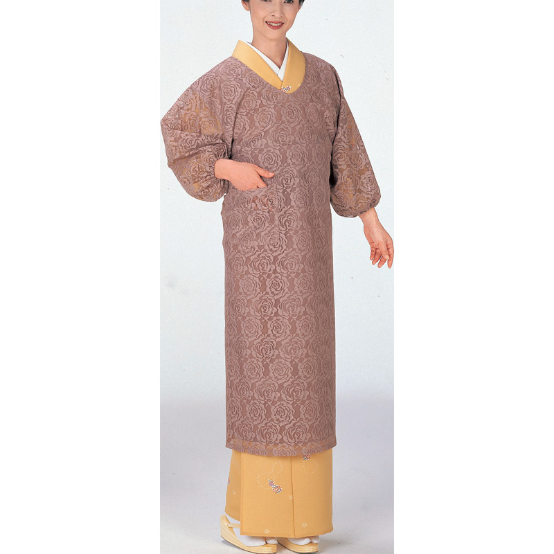 COLOR Long Kappougi Apron, Rose pattern woven, Beige, brown