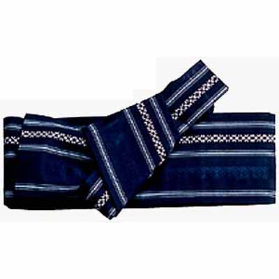 Ready Tied Obi (sash or belt) Kenjo, Navyblue, poly mix - Click Image to Close