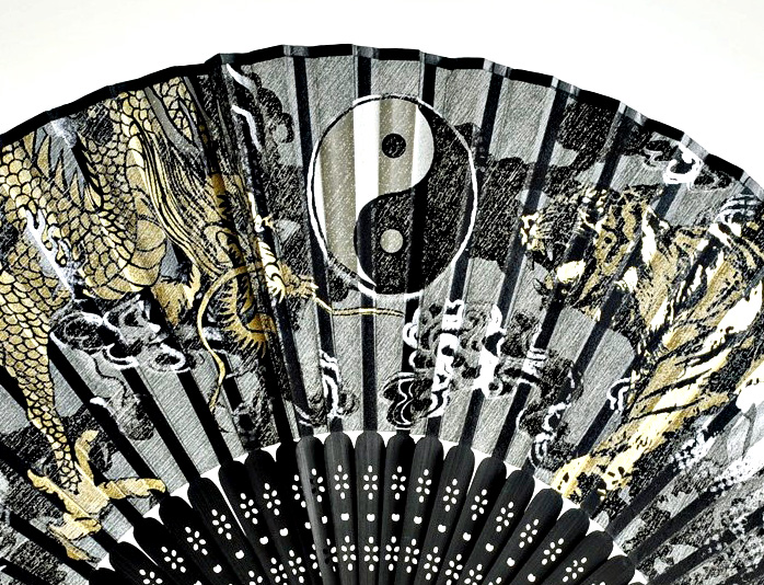 silk fan | Yin and Yang, Dragon and Tiger