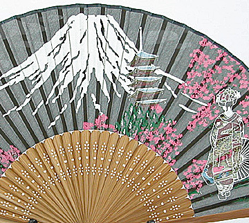 silk fan | Fuji, Sakura and Maiko silhouette