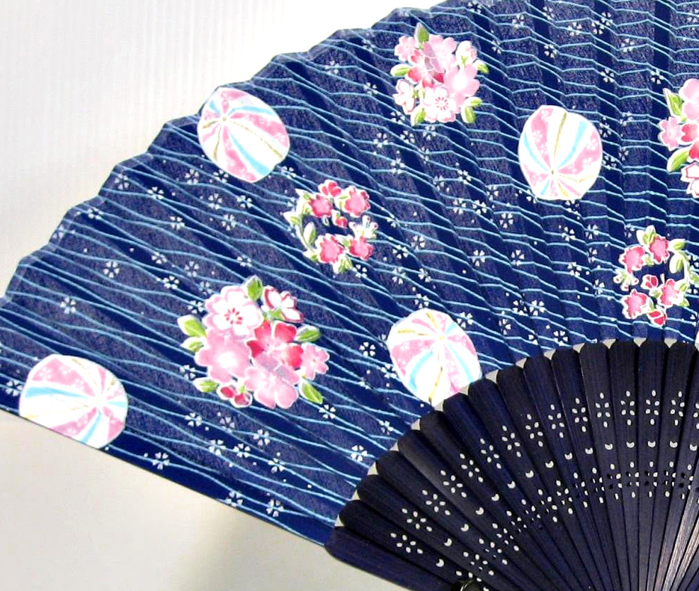 silk fan | Chiyogami Pattern