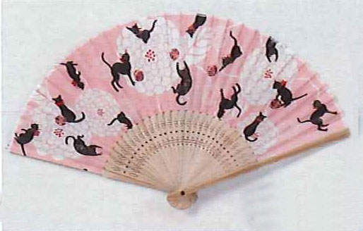 Black Cat and flowers silk fan